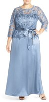 Marina Plus Size Women's Lace Bodice Mock Two-Piece Gown
