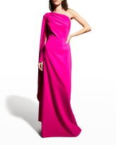 Thumbnail for your product : Rickie Freeman For Teri Jon Cape-Sleeve One-Shoulder Crepe Gown