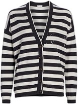 Brunello Cucinelli Sequin Stripe V-Neck Cashmere Cardigan