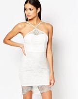Lipsy Ariana Grande for White Sculpted Lace Pencil Dress