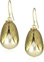 "Lenora Dame ""Romantic"" Not Your Mother's Pearls Petal Bead Cap Earrings in Cream"