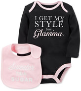 Carter's 2-Pc. Style From Glamma Cotton Bodysuit & Bib Set, Baby Girls (0-24 months)