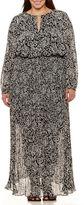 Boutique + + Long Sleeve Maxi Dress-Plus