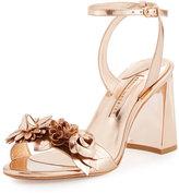 Sophia Webster Lilico Floral Leather Block-Heel Sandal