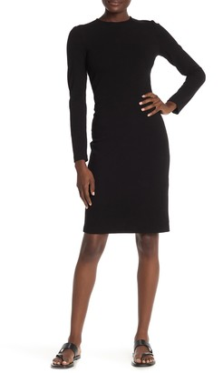 Vince Solid 3/4 Sleeve Sheath Midi Dress
