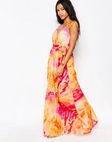 Traffic People Silk Blessings Maxi Dress In Watercolour Print