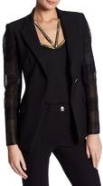 Versace Leather Embellished Mesh Sleeve Jacket