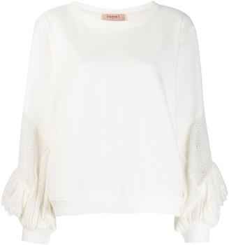 Twin-Set Ruffled Detail Oversized Sweatshirt