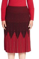Stizzoli, Plus Size Chevron Embellished Pleated Skirt