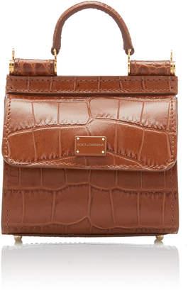 Dolce & Gabbana Sicily Mini Croc-Effect Leather Top Handle Bag