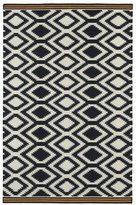 Tribeca Flatweave Black Geo Wool Rug (9' x 12')
