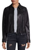 True Religion Leather Fringe Moto Jacket