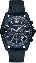 Emporio Armani Men's Chronograph Sigma Blue Leather and Nylon Strap Watch 44mm AR6132