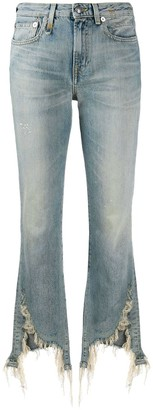 R 13 Distressed Kick Flared Jeans