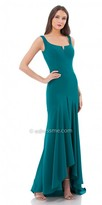 Carmen Marc Valvo Bateau Asymmetrical Evening Dress