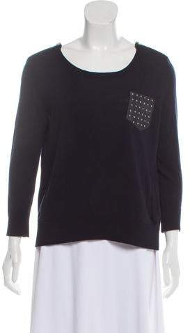 The Kooples Leather-Trimmed Wool Sweater