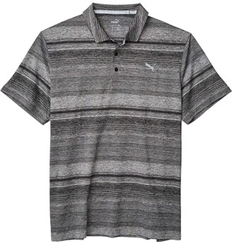 Puma Golf Variegated Stripe Polo Black Heather) Men's Clothing