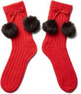 Portolano Women's Pom-Pom Socks, Tomato Red