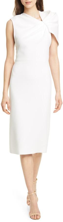 Alice + Olivia Kiro Ruffle One-Shoulder Midi Dress