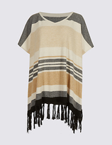 M&S Collection Striped Tassel Poncho