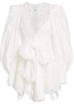 Acler Women's Vicount V-Neck Lace Eyelet-Trim Puff-Sleeve Tie-Waist Mini A-Line Dress