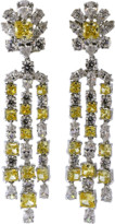 FANTASIA Top Round Canary And Cubic Zirconia Flower Drop Earrings