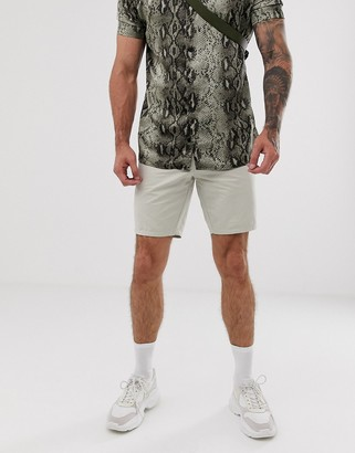 Asos Design DESIGN slim shorts in stone peached cotton-Beige