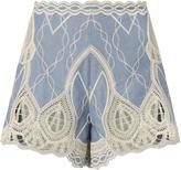 Jonathan Simkhai Chambray Crochet Embroidered Shorts