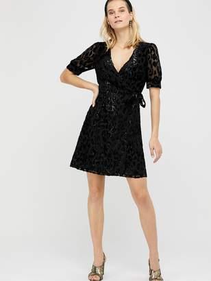 Monsoon Akeira Animal Devore Blouson Short Dress - Black