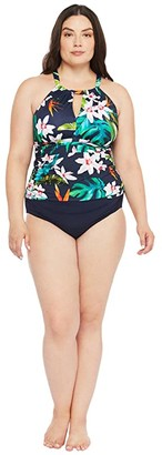 Lauren Ralph Lauren Plus Size Watercolor Tropical High Neck Tankini (Multi) Women's Swimwear
