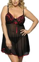William&Lisa Womens Plus Size Chemise Nightgown Lace Camisole Sleepwear Full Slip Nightdress