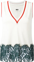 MM6 MAISON MARGIELA lace hem vest top - women - Cotton/Viscose/Polyimide - S