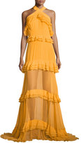 Prabal Gurung Sleeveless Halter Tiered Gown, Marigold