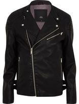 River Island Mens Black faux leather racer neck biker jacket