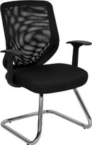 Flash Furniture LF-W953-BK-GG Mesh Back Office Side Chair with Fabric Seat