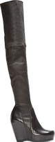 Rick Owens Black Stretch Leather Over The Knee Wedge Boots