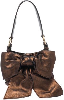 Saint Laurent Paris Metallic Bronze Leather Mini Sac Bow Shoulder Bag