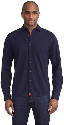 UNTUCKit Pique Polo Button-Down (Navy) Men's Clothing