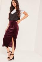 Missguided Burgundy Velvet Split Side Midi Skirt