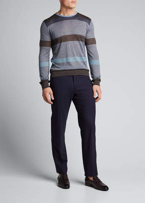 Giorgio Armani Men's Striped Plain-Knit Sweater