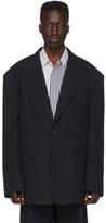 Juun.J Navy Wool Twill Blazer