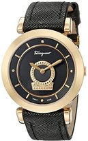 Salvatore Ferragamo Women's FQ4230015 Minuetto Diamond-Accented Gold Ion-Plated Watch with Black Leather Band