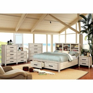 Gracie Oaks Mathias Storage Platform Bed Color: Wire-Brushed White, Size: King
