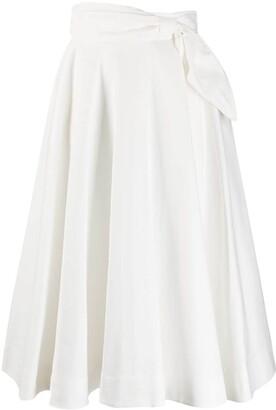 MSGM side tie A-line midi skirt
