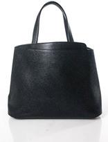 Valextra Black Leather Small Triennale Tote Handbag