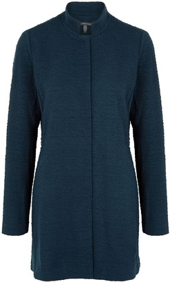 Eileen Fisher Navy Textured-knit Cotton-blend Jacket