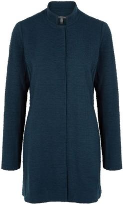 Eileen Fisher Navy textured-knit cotton-blend jacket