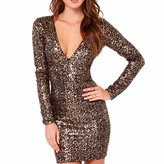 WINSON Sexy Women Bling Sequins V Neck Long Sleeve Bodycon Dress Short Mini Cocktail