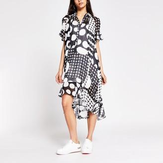 River Island Womens Black spot printed midi shirt dress