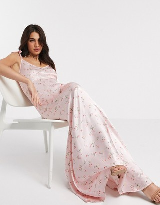 Ghost Bridesmaid dahlia floral printed satin maxi dress with frill shoulder in dakotha ditsy